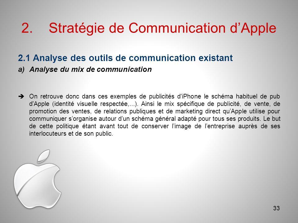 2.Stratégie de Communication dApple 2.1 Analyse des outils de communication existant a)Analyse du mix de communication On retrouve donc dans ces exemples de publicités d iPhone le schéma habituel de pub d Apple (identité visuelle respectée,...).