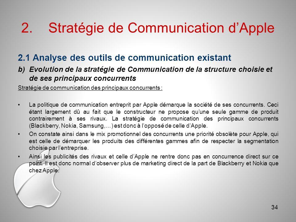 2.Stratégie de Communication dApple 2.1 Analyse des outils de communication existant b)Evolution de la stratégie de Communication de la structure choisie et de ses principaux concurrents Stratégie de communication des principaux concurrents : La politique de communication entreprit par Apple démarque la société de ses concurrents.