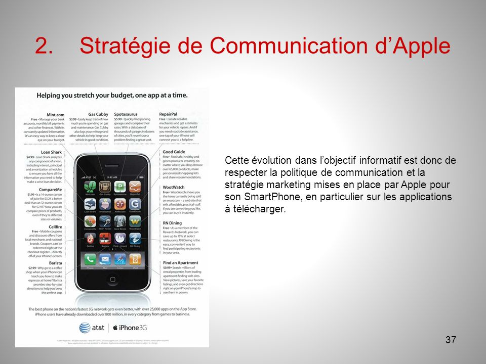 2.Stratégie de Communication dApple 37 Cette évolution dans lobjectif informatif est donc de respecter la politique de communication et la stratégie marketing mises en place par Apple pour son SmartPhone, en particulier sur les applications à télécharger.