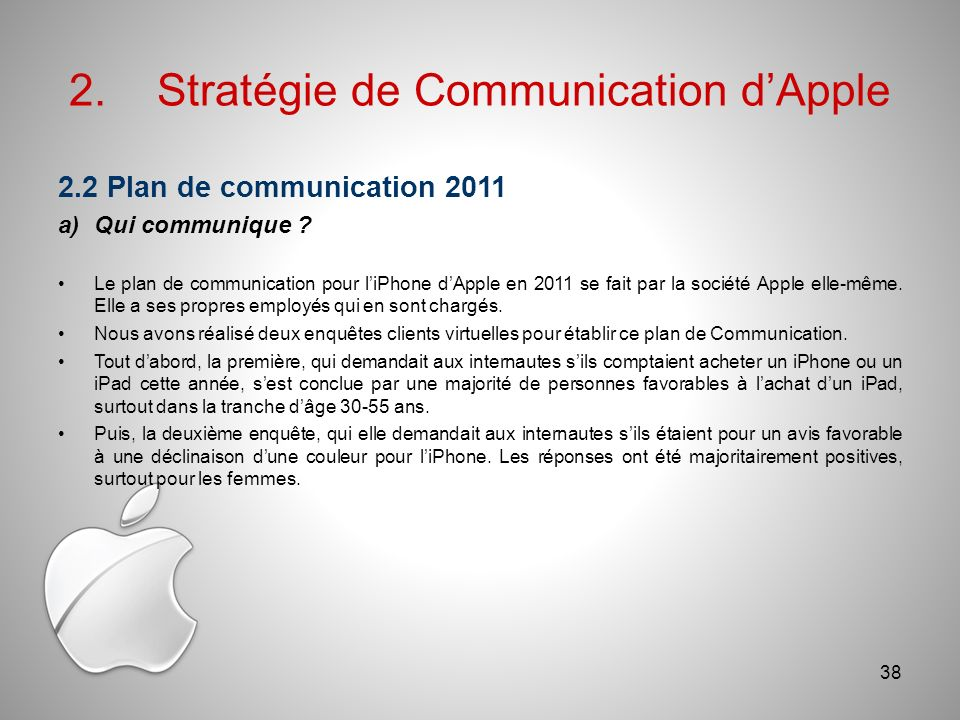 2.Stratégie de Communication dApple 2.2 Plan de communication 2011 a)Qui communique .