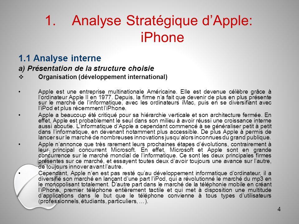 1.1 Analyse interne a) Présentation de la structure choisie Organisation (développement international) Apple est une entreprise multinationale Américaine.