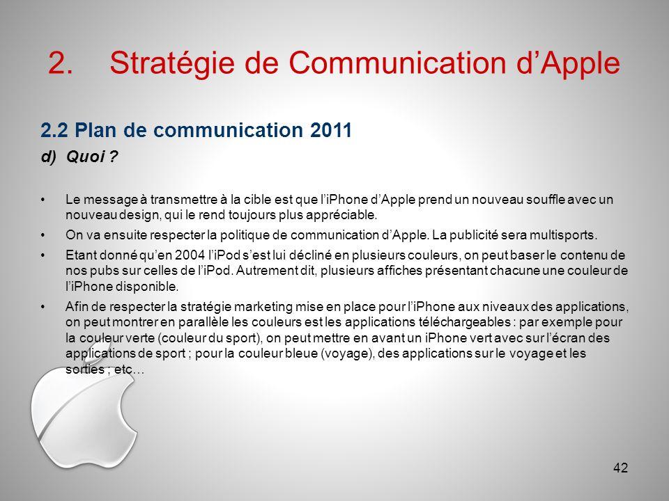2.Stratégie de Communication dApple 2.2 Plan de communication 2011 d)Quoi .