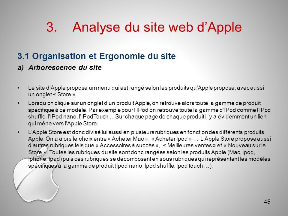 3.1 Organisation et Ergonomie du site a)Arborescence du site Le site dApple propose un menu qui est rangé selon les produits quApple propose, avec aussi un onglet « Store ».