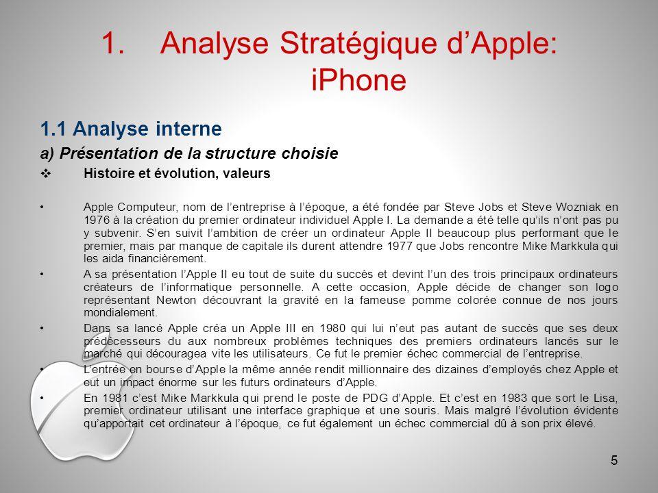 1.1 Analyse interne a) Présentation de la structure choisie Histoire et évolution, valeurs Apple Computeur, nom de lentreprise à lépoque, a été fondée par Steve Jobs et Steve Wozniak en 1976 à la création du premier ordinateur individuel Apple I.