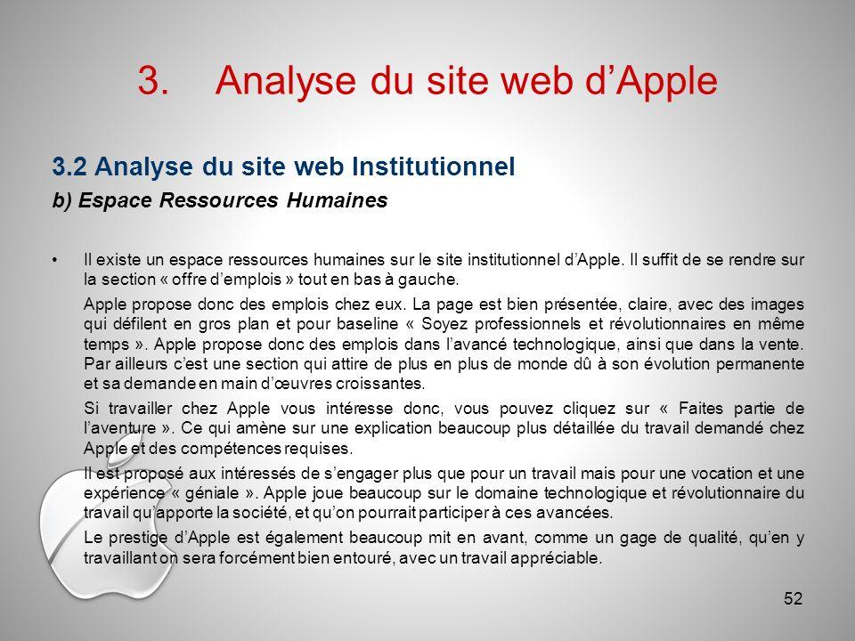 3.Analyse du site web dApple 3.2 Analyse du site web Institutionnel b) Espace Ressources Humaines Il existe un espace ressources humaines sur le site institutionnel dApple.