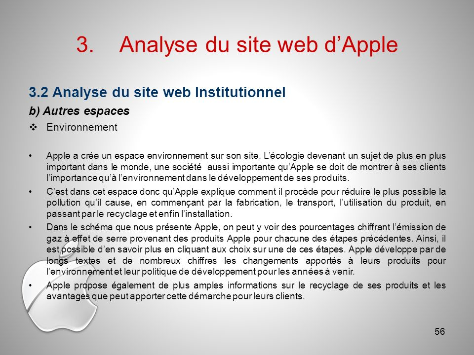 3.Analyse du site web dApple 3.2 Analyse du site web Institutionnel b) Autres espaces Environnement Apple a crée un espace environnement sur son site.