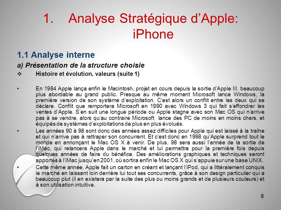 1.1 Analyse interne a) Présentation de la structure choisie Histoire et évolution, valeurs (suite 1) En 1984 Apple lança enfin le Macintosh, projet en cours depuis la sortie dApple III, beaucoup plus abordable au grand public.