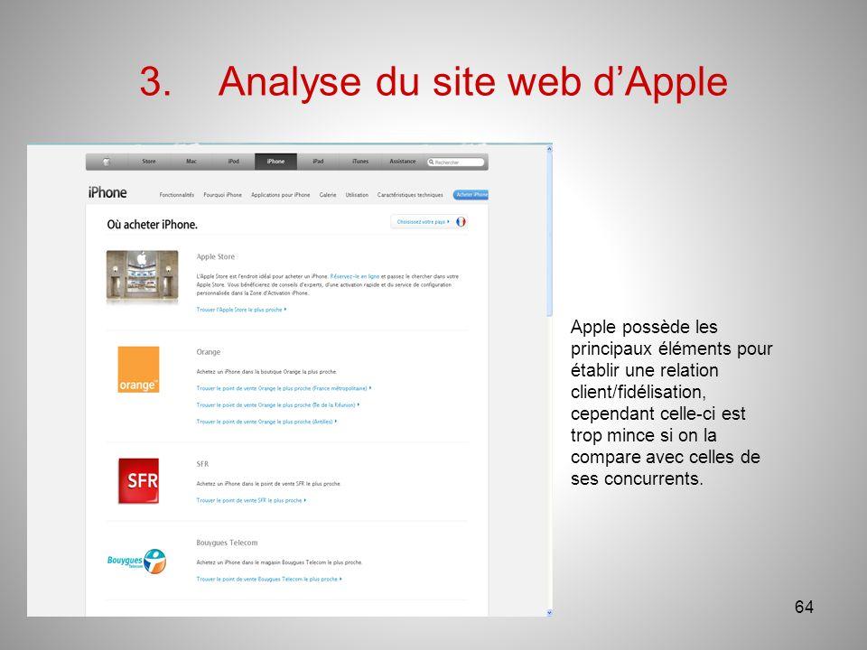 3.Analyse du site web dApple 64 Apple possède les principaux éléments pour établir une relation client/fidélisation, cependant celle-ci est trop mince si on la compare avec celles de ses concurrents.