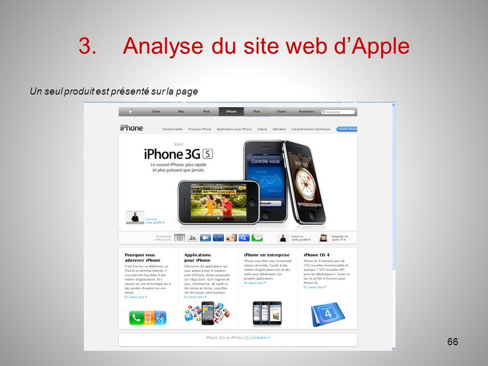3.Analyse du site web dApple Un seul produit est présenté sur la page 66