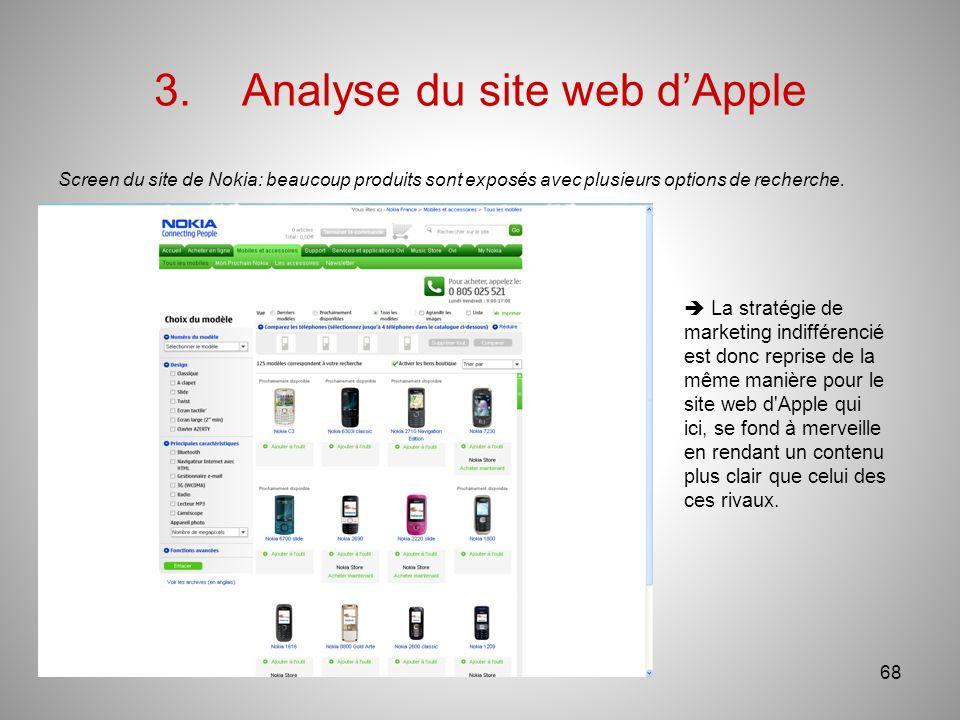 3.Analyse du site web dApple Screen du site de Nokia: beaucoup produits sont exposés avec plusieurs options de recherche.
