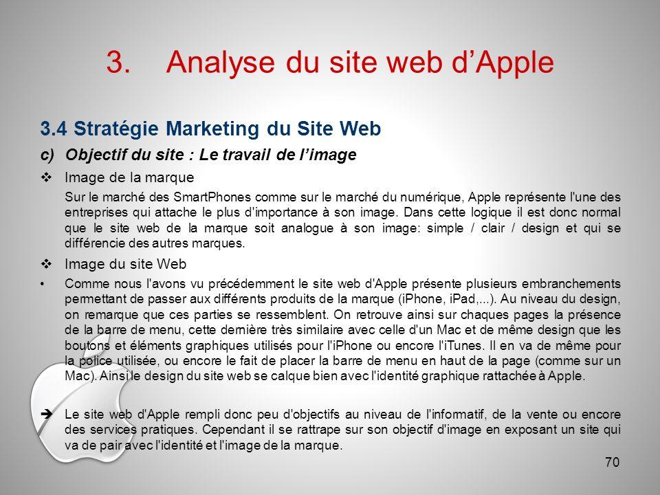 3.Analyse du site web dApple 3.4 Stratégie Marketing du Site Web c)Objectif du site : Le travail de limage Image de la marque Sur le marché des SmartPhones comme sur le marché du numérique, Apple représente l une des entreprises qui attache le plus d importance à son image.
