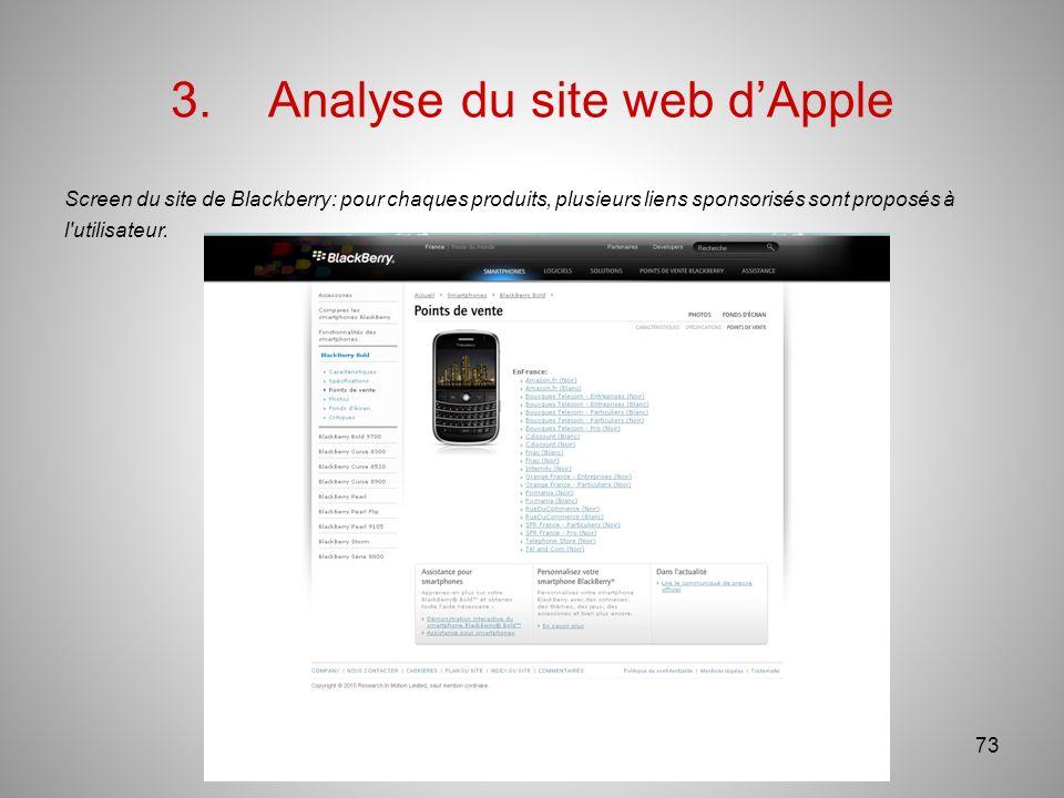 3.Analyse du site web dApple Screen du site de Blackberry: pour chaques produits, plusieurs liens sponsorisés sont proposés à l utilisateur.