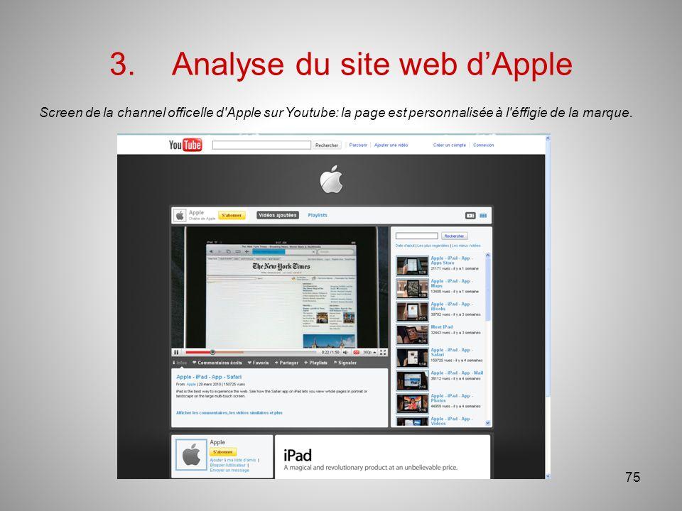 3.Analyse du site web dApple Screen de la channel officelle d Apple sur Youtube: la page est personnalisée à l éffigie de la marque.