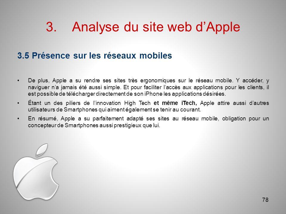 3.Analyse du site web dApple 3.5 Présence sur les réseaux mobiles De plus, Apple a su rendre ses sites très ergonomiques sur le réseau mobile.