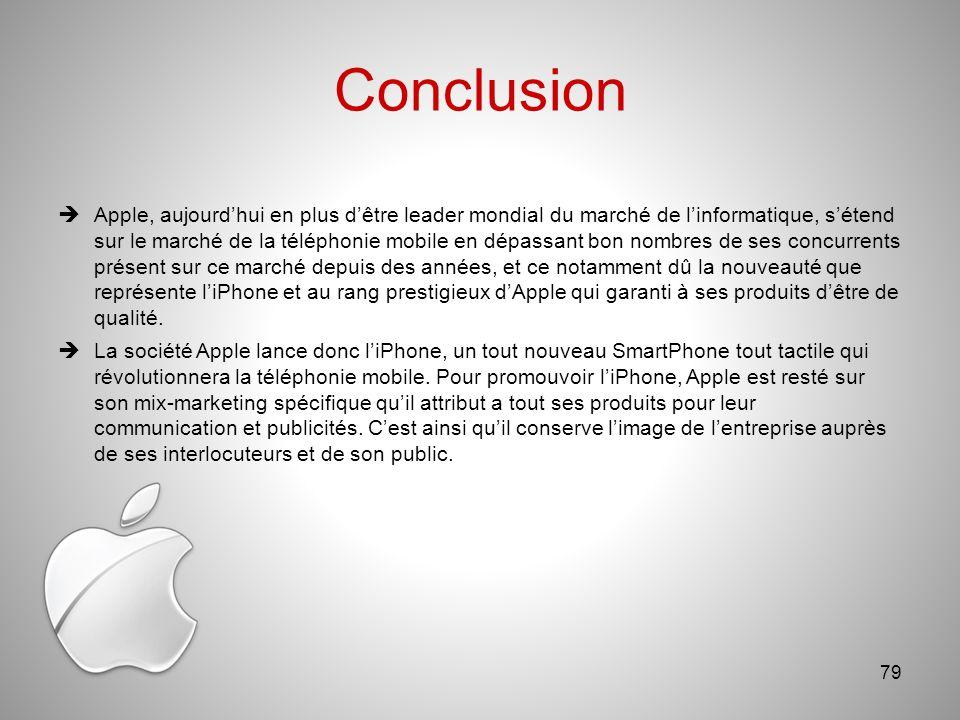 Conclusion Apple, aujourdhui en plus dêtre leader mondial du marché de linformatique, sétend sur le marché de la téléphonie mobile en dépassant bon nombres de ses concurrents présent sur ce marché depuis des années, et ce notamment dû la nouveauté que représente liPhone et au rang prestigieux dApple qui garanti à ses produits dêtre de qualité.