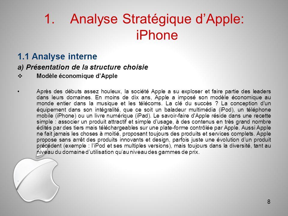 1.1 Analyse interne a) Présentation de la structure choisie Modèle économique dApple Après des débuts assez houleux, la société Apple a su exploser et faire partie des leaders dans leurs domaines.