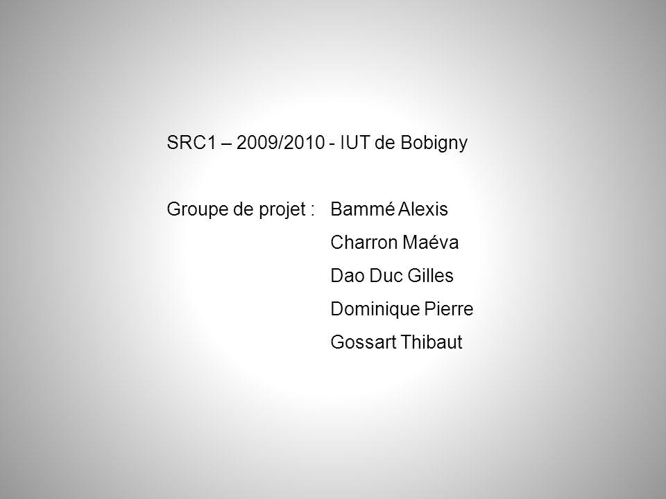 SRC1 – 2009/2010 - IUT de Bobigny Groupe de projet : Bammé Alexis Charron Maéva Dao Duc Gilles Dominique Pierre Gossart Thibaut