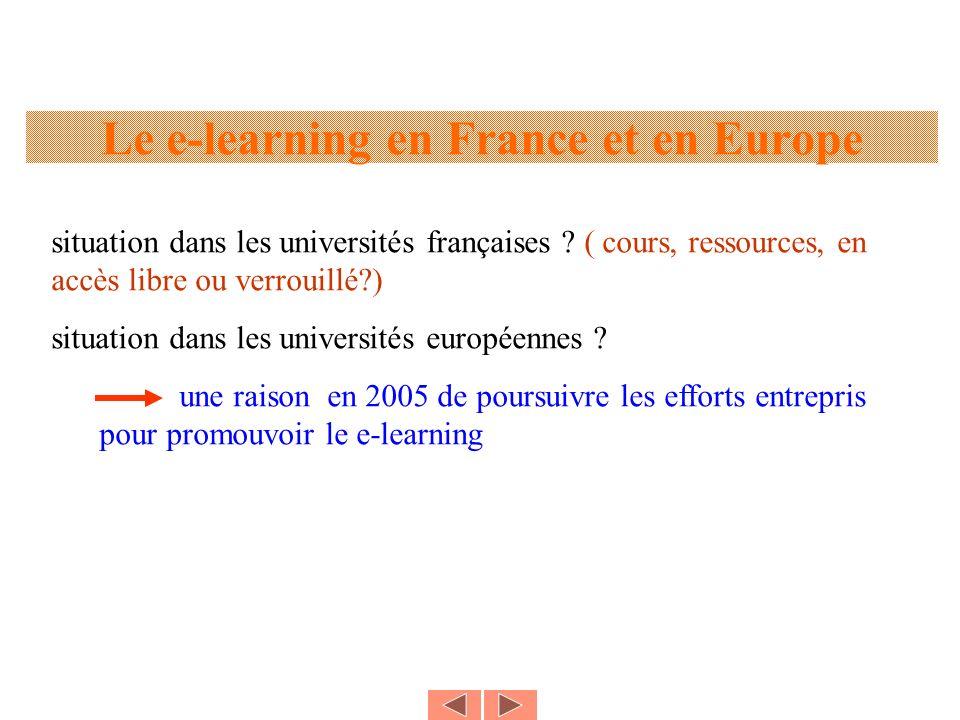 Le e-learning en France et en Europe situation dans les universités françaises ? ( cours, ressources, en accès libre ou verrouillé?) situation dans le
