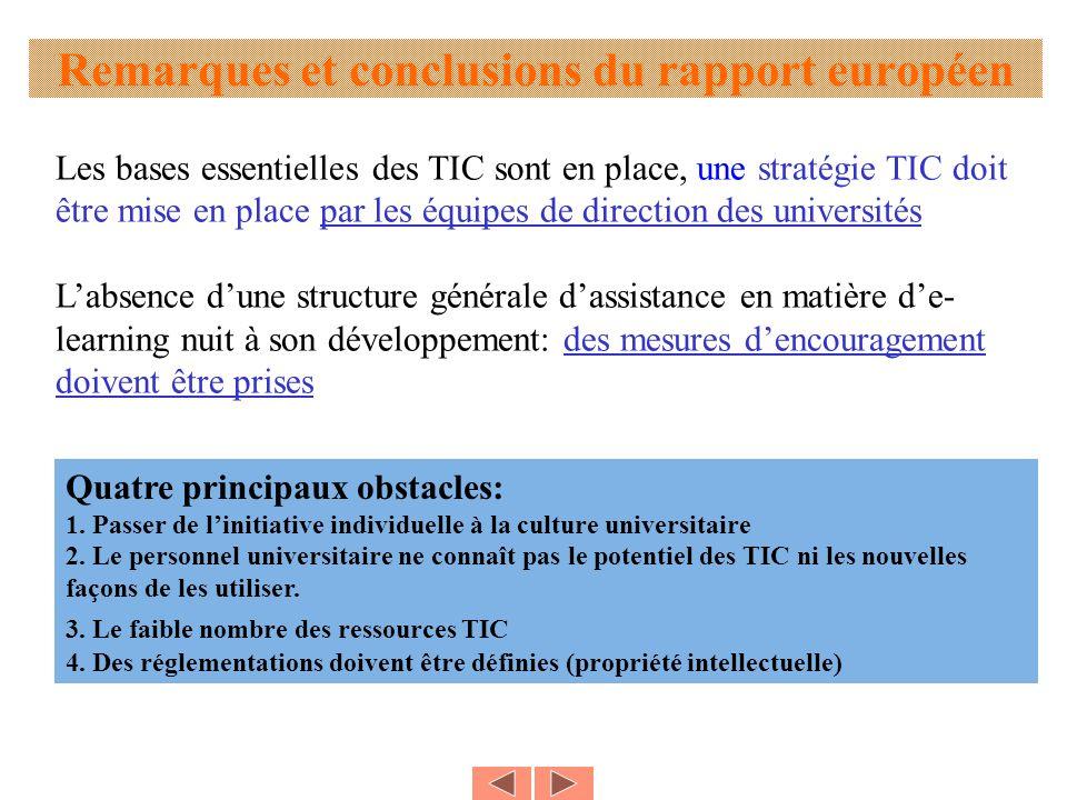 Remarques et conclusions du rapport européen Les bases essentielles des TIC sont en place, une stratégie TIC doit être mise en place par les équipes d