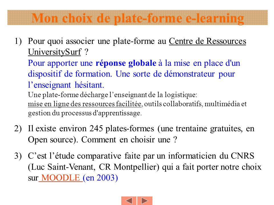 Mon choix de plate-forme e-learning 1)Pour quoi associer une plate-forme au Centre de Ressources UniversitySurf ? Pour apporter une réponse globale à