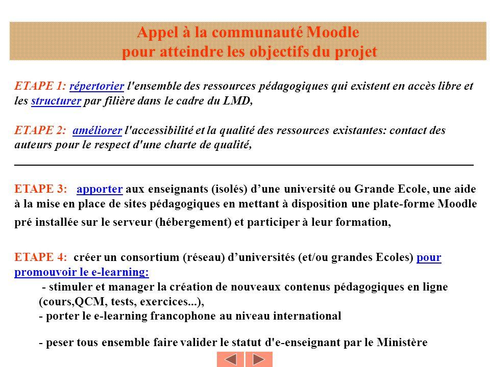 ETAPE 1: répertorier l'ensemble des ressources pédagogiques qui existent en accès libre et les structurer par filière dans le cadre du LMD, ETAPE 2: a