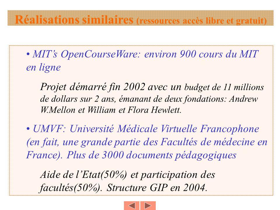 MITs OpenCourseWare: environ 900 cours du MIT en ligne Projet démarré fin 2002 avec un budget de 11 millions de dollars sur 2 ans, émanant de deux fondations: Andrew W.Mellon et William et Flora Hewlett.