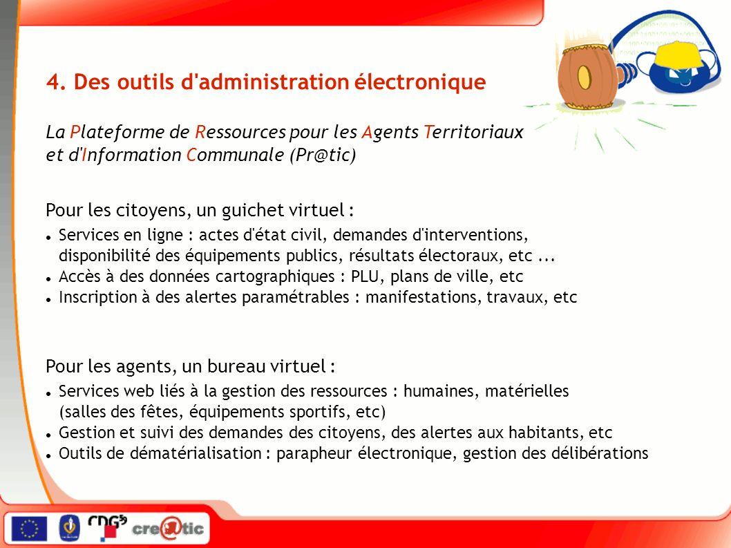 Services en ligne : actes d'état civil, demandes d'interventions, disponibilité des équipements publics, résultats électoraux, etc... Accès à des donn