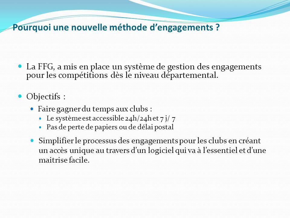 Pourquoi une nouvelle méthode dengagements ? La FFG, a mis en place un système de gestion des engagements pour les compétitions dès le niveau départem