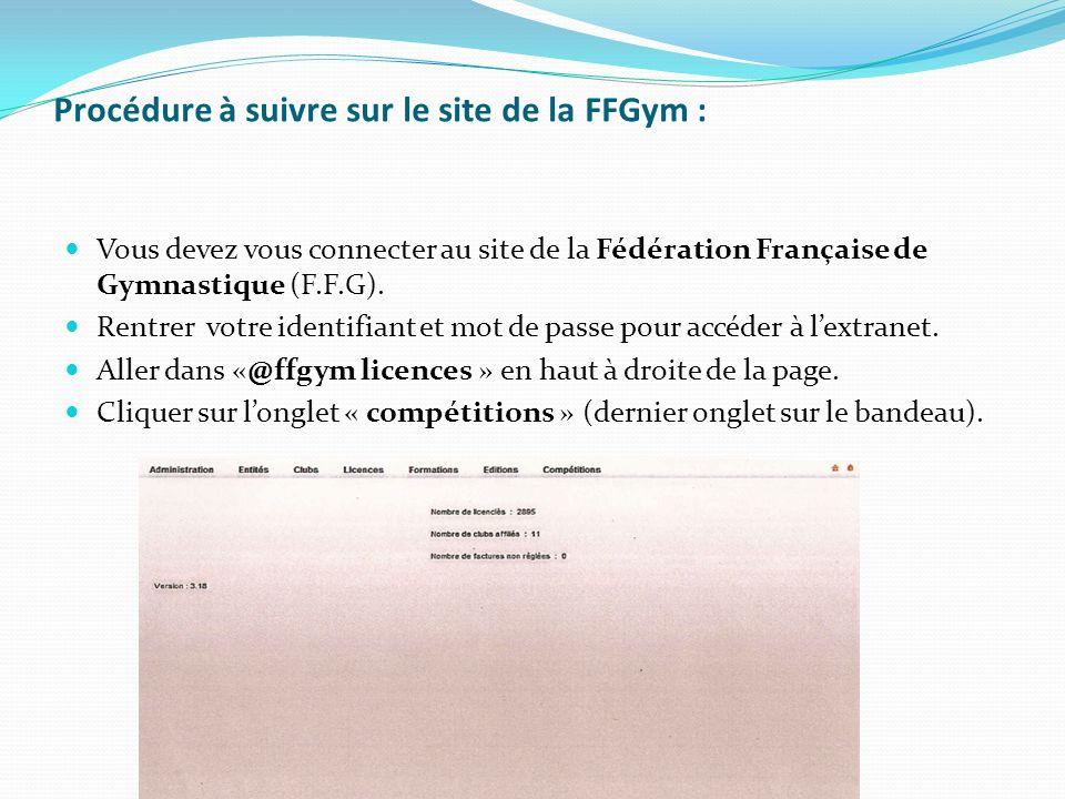 Vous devez vous connecter au site de la Fédération Française de Gymnastique (F.F.G). Rentrer votre identifiant et mot de passe pour accéder à lextrane