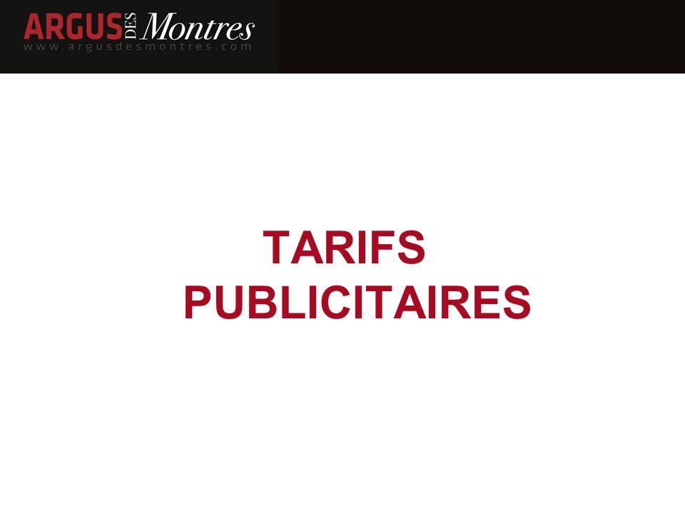 TARIFS PUBLICITAIRES