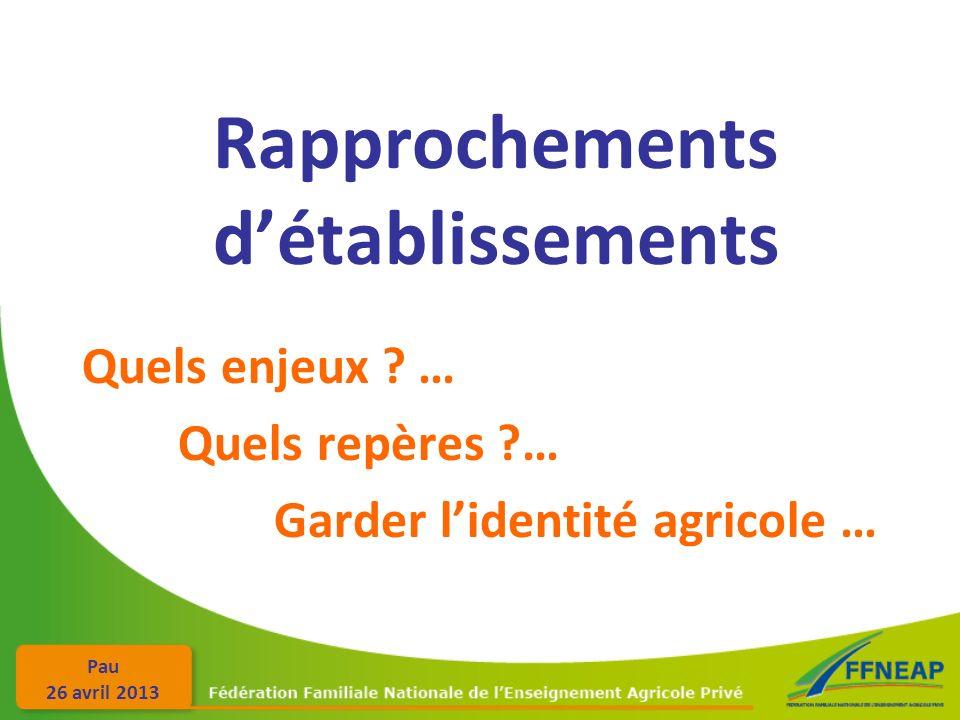 Pau 26 avril 2013 Rapprochements détablissements Quels enjeux ? … Quels repères ?… Garder lidentité agricole …