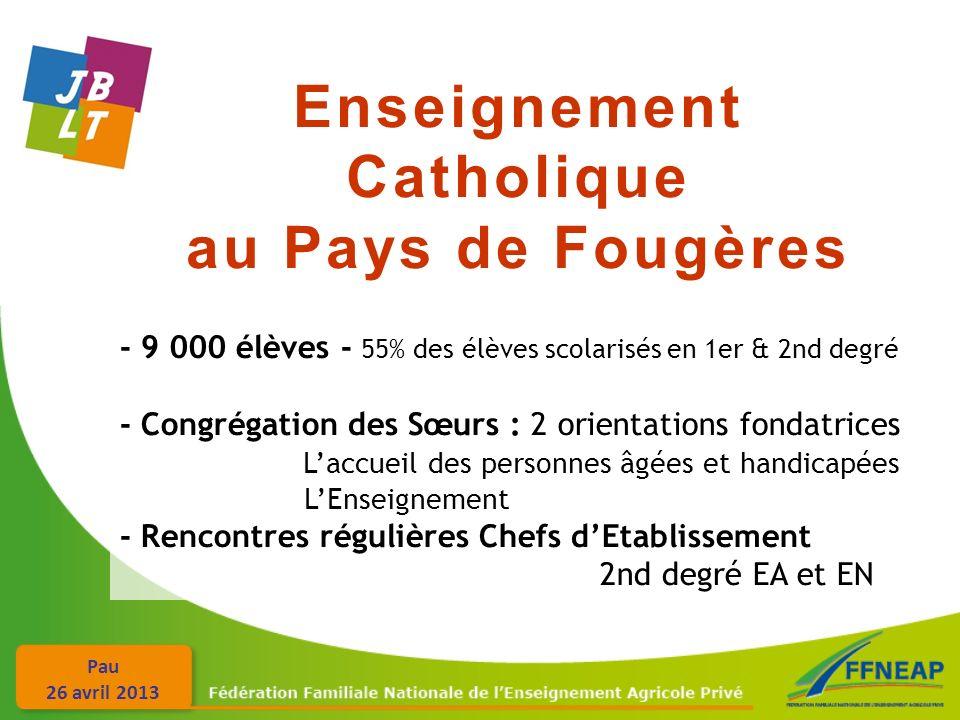 Pau 26 avril 2013 Enseignement Catholique au Pays de Fougères - 9 000 élèves - 55% des élèves scolarisés en 1er & 2nd degré - Congrégation des Sœurs :