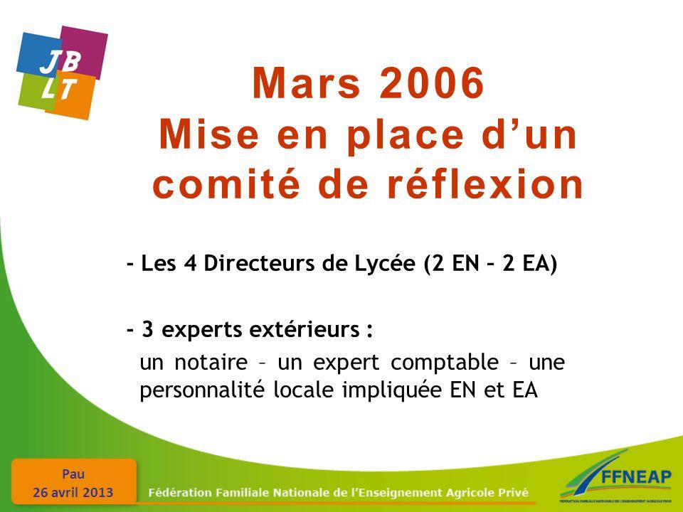 Pau 26 avril 2013 Mars 2006 Mise en place dun comité de réflexion - Les 4 Directeurs de Lycée (2 EN – 2 EA) - 3 experts extérieurs : un notaire – un expert comptable – une personnalité locale impliquée EN et EA