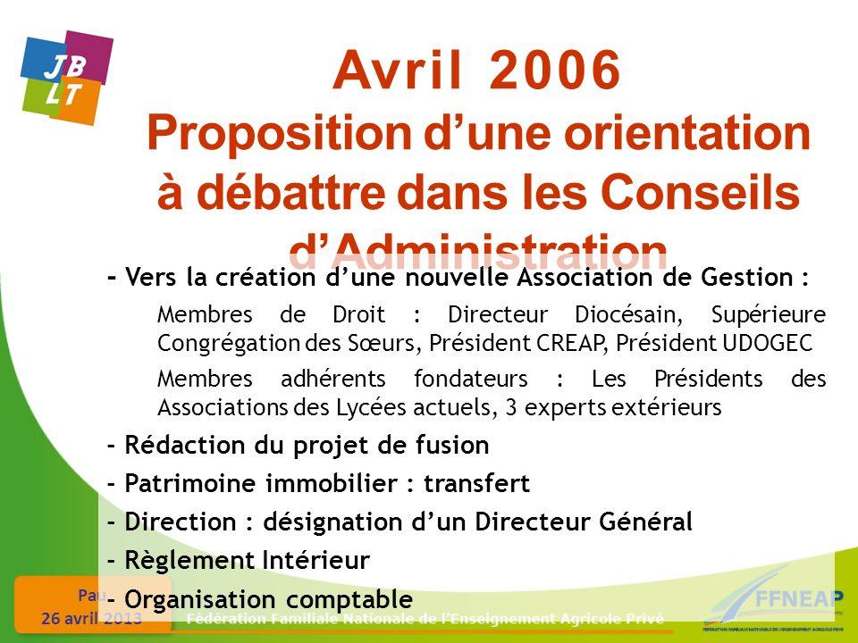 Pau 26 avril 2013 Avril 2006 Proposition dune orientation à débattre dans les Conseils dAdministration - Vers la création dune nouvelle Association de