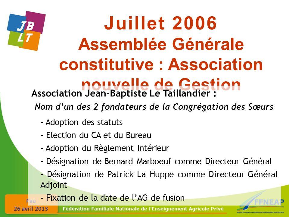 Pau 26 avril 2013 Juillet 2006 Assemblée Générale constitutive : Association nouvelle de Gestion Association Jean-Baptiste Le Taillandier : Nom dun de