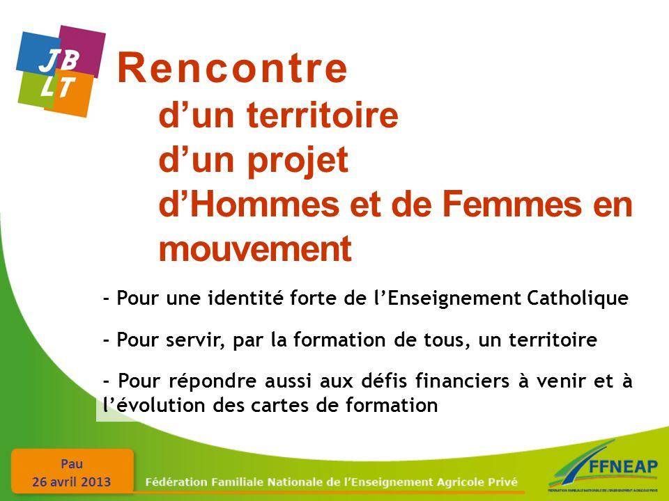 Pau 26 avril 2013 Rencontre dun territoire dun projet dHommes et de Femmes en mouvement - Pour une identité forte de lEnseignement Catholique - Pour servir, par la formation de tous, un territoire - Pour répondre aussi aux défis financiers à venir et à lévolution des cartes de formation