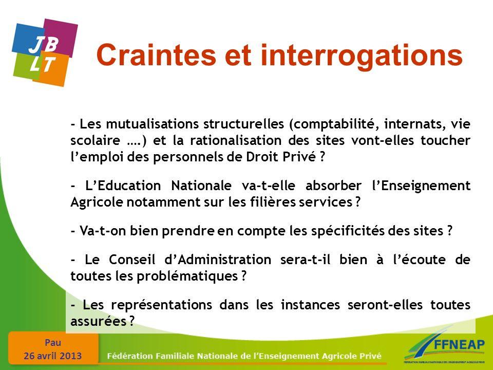 Pau 26 avril 2013 Craintes et interrogations - Les mutualisations structurelles (comptabilité, internats, vie scolaire ….) et la rationalisation des s