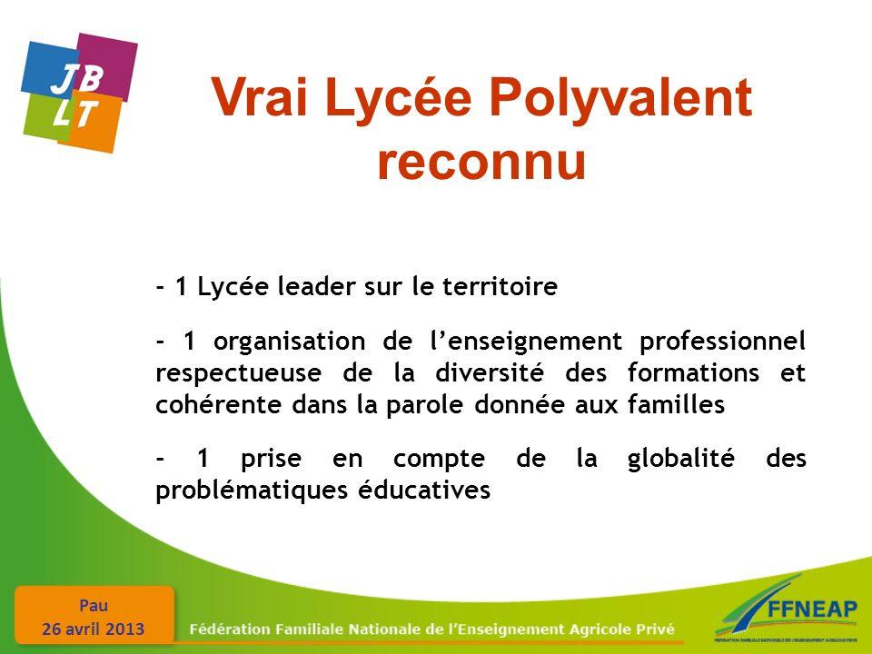 Pau 26 avril 2013 Vrai Lycée Polyvalent reconnu - 1 Lycée leader sur le territoire - 1 organisation de lenseignement professionnel respectueuse de la