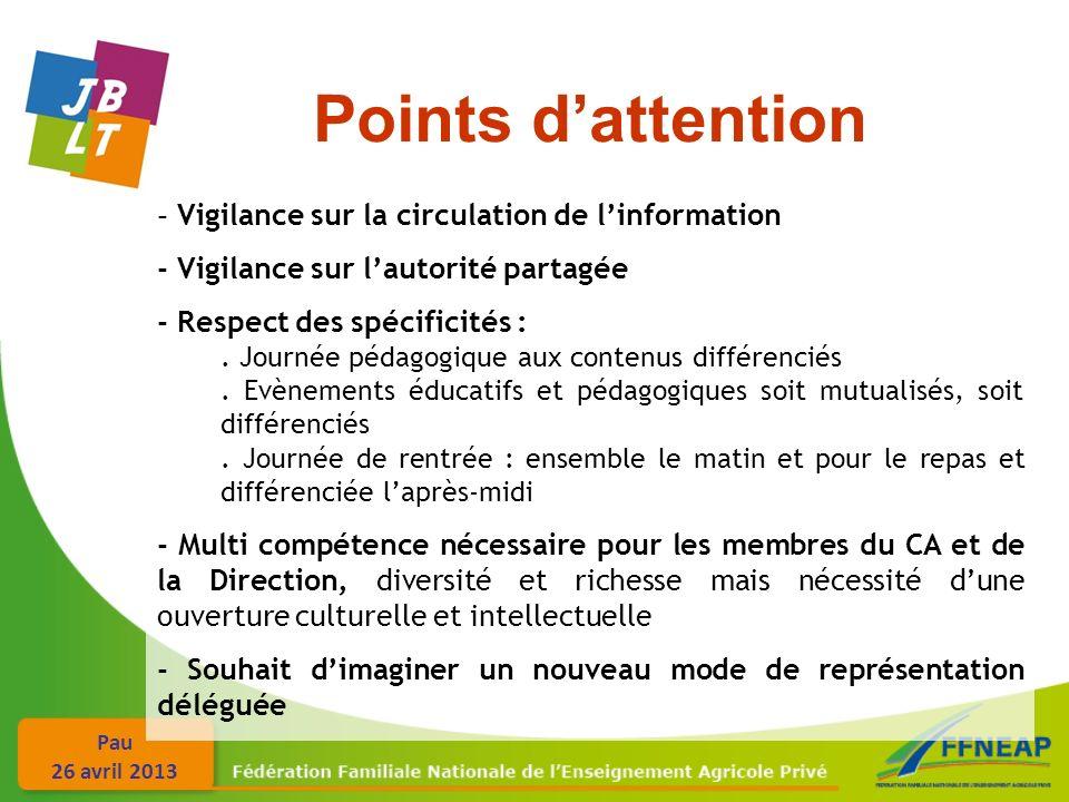 Pau 26 avril 2013 Points dattention - Vigilance sur la circulation de linformation - Vigilance sur lautorité partagée - Respect des spécificités :.
