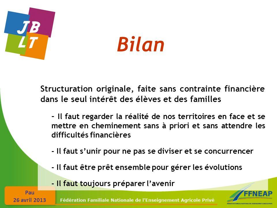 Pau 26 avril 2013 Bilan Structuration originale, faite sans contrainte financière dans le seul intérêt des élèves et des familles - Il faut regarder l