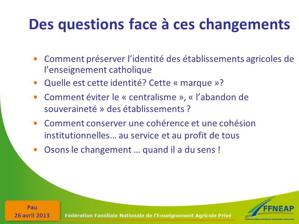 Pau 26 avril 2013 Des questions face à ces changements Comment préserver lidentité des établissements agricoles de lenseignement catholique Quelle est cette identité.