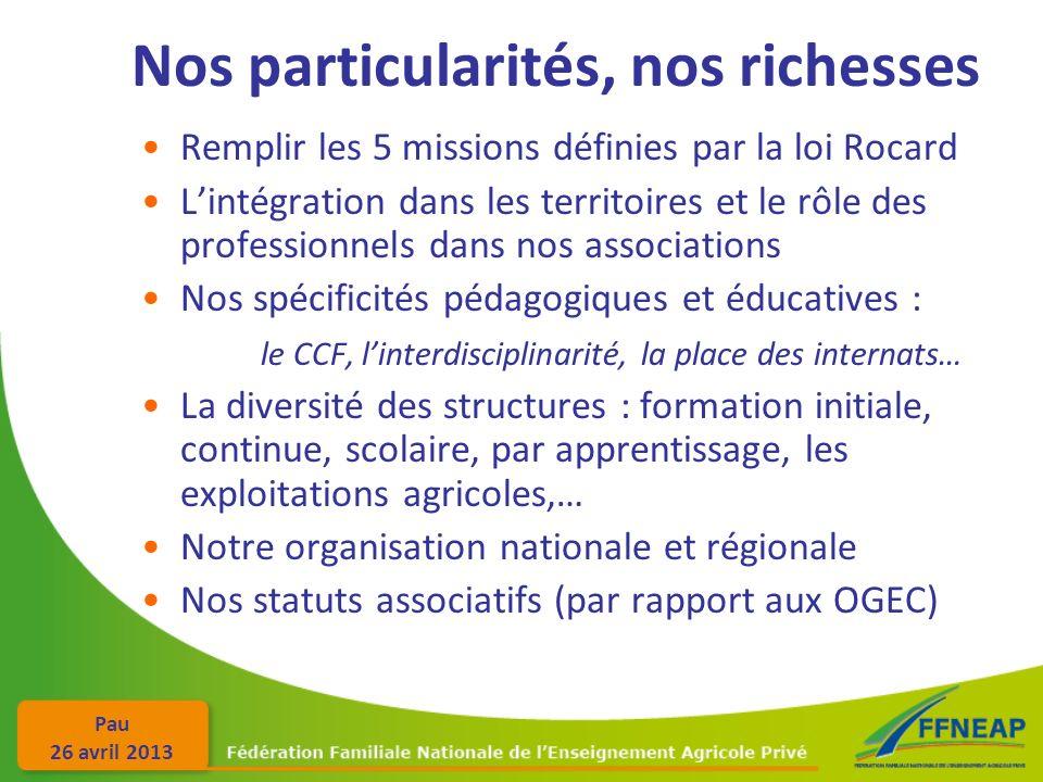 Pau 26 avril 2013 Nos particularités, nos richesses Remplir les 5 missions définies par la loi Rocard Lintégration dans les territoires et le rôle des