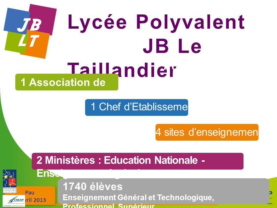 Pau 26 avril 2013 Lycée Polyvalent JB Le Taillandier 1740 élèves Enseignement Général et Technologique, Professionnel, Supérieur 1 Association de Gest