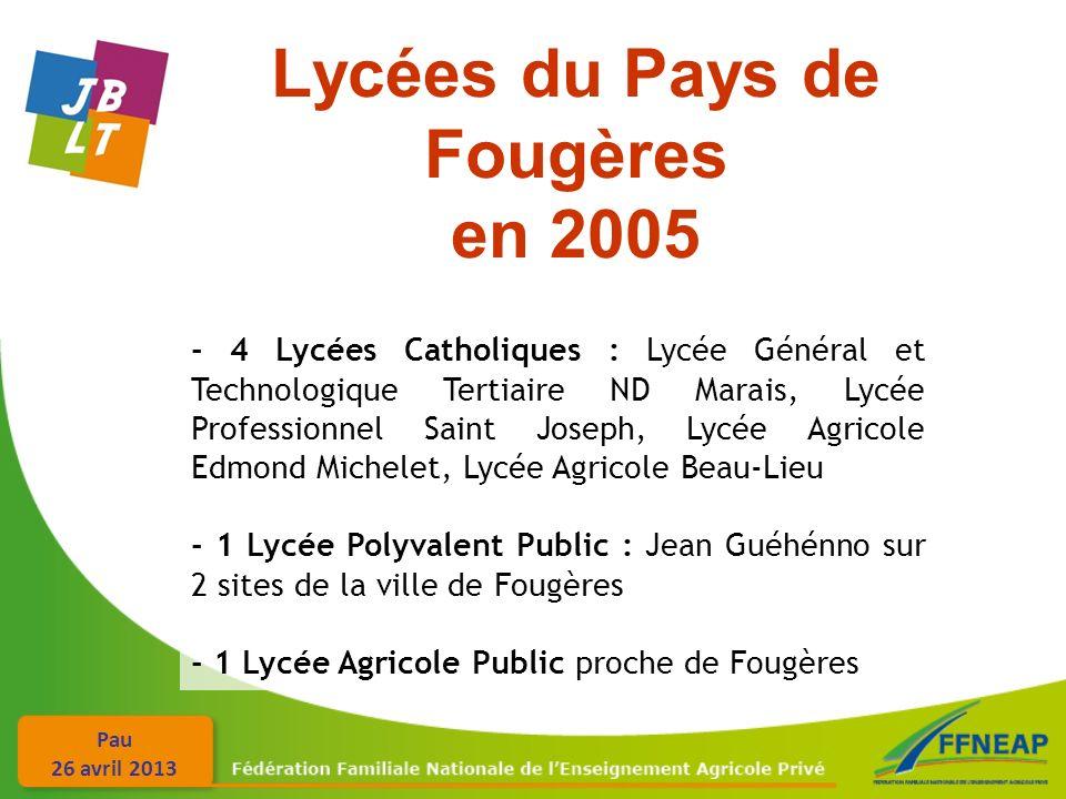 Pau 26 avril 2013 Lycées du Pays de Fougères en 2005 - 4 Lycées Catholiques : Lycée Général et Technologique Tertiaire ND Marais, Lycée Professionnel