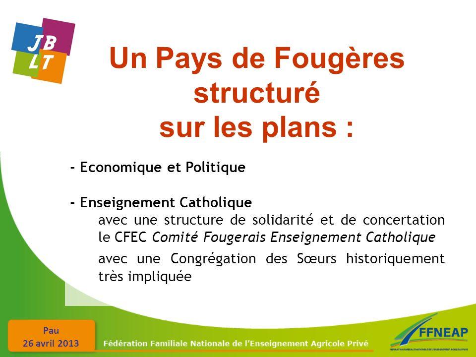 Pau 26 avril 2013 Un Pays de Fougères structuré sur les plans : - Economique et Politique - Enseignement Catholique avec une structure de solidarité e