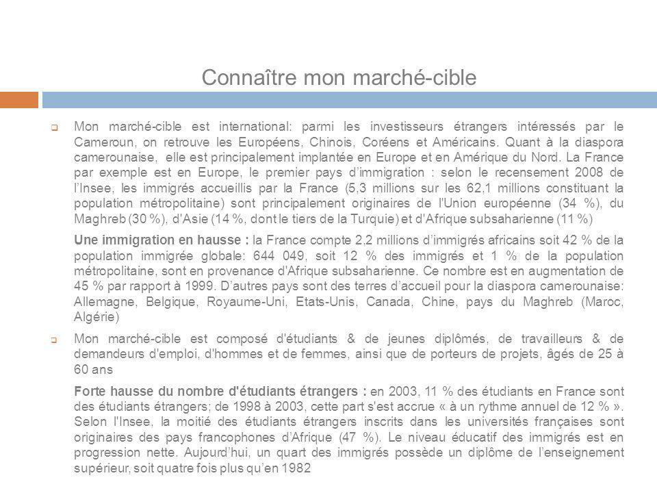 Connaître mon marché-cible Mon marché-cible est international: parmi les investisseurs étrangers intéressés par le Cameroun, on retrouve les Européens