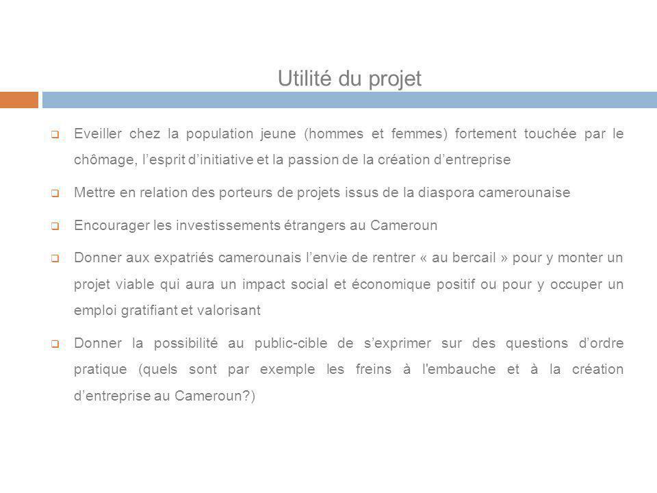 Utilité du projet Eveiller chez la population jeune (hommes et femmes) fortement touchée par le chômage, lesprit dinitiative et la passion de la créat