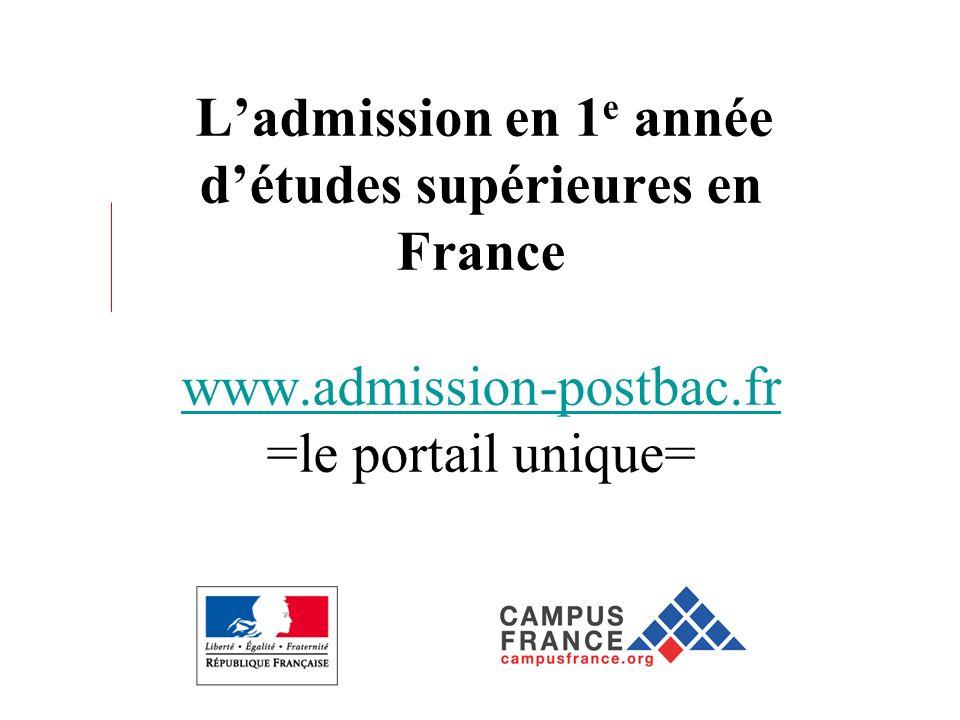 Ladmission en 1 e année détudes supérieures en France www.admission-postbac.fr =le portail unique= www.admission-postbac.fr