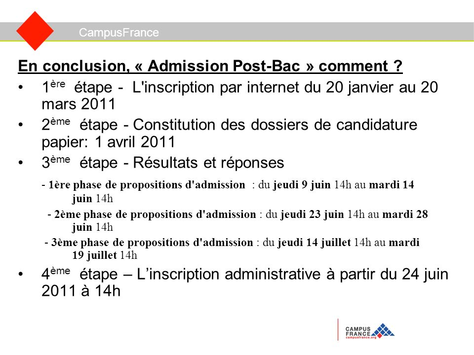 CampusFrance En conclusion, « Admission Post-Bac » comment .