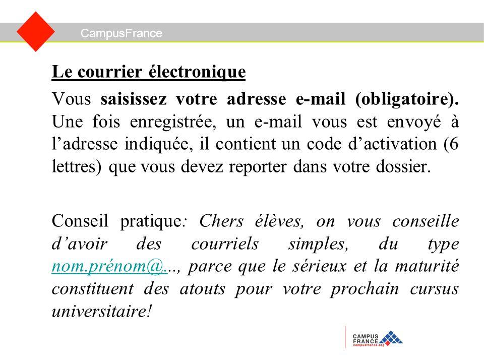 Le courrier électronique Vous saisissez votre adresse e-mail (obligatoire).